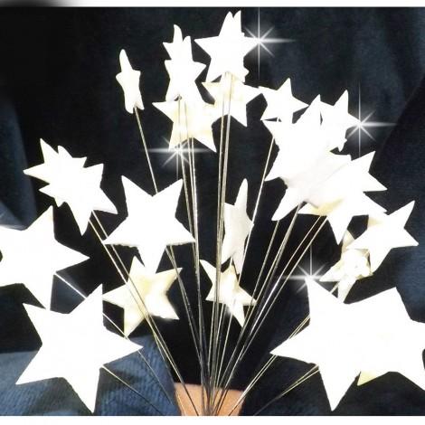 Baltos blizgančios žvaigždės su vielutėmis