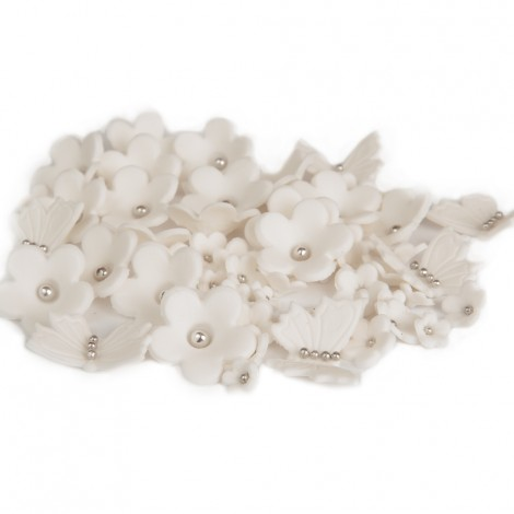 Sugar decorations - White flowers, butterflies with silver balls