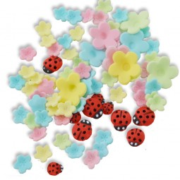 Pastel colour blossoms and ladybugs