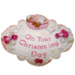 Pink colour edible plaque with baby