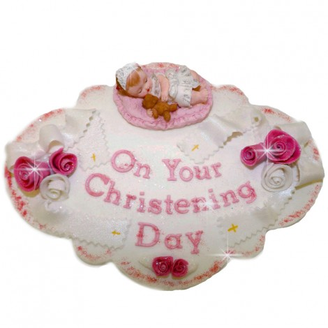 Sugar Decorations - Pink colour edible plaque with baby