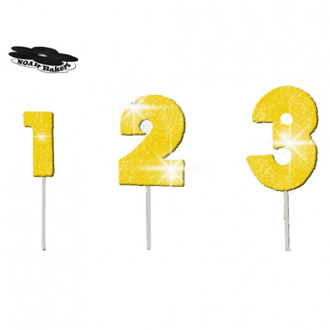 Sugar Decorations - Wired Gold colour glittering number