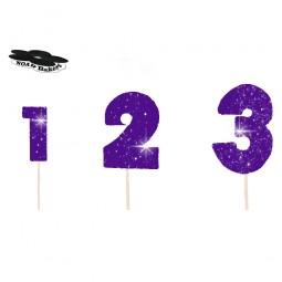 Skaičius su vielute ryškiai violetinės spalvos blizgantis