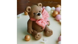 Cake topper Teddy Bear with Bow 3D