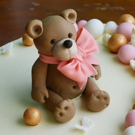 Sugar Decorations - Cake topper Teddy Bear with Bow 3D