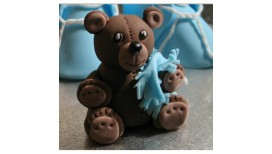 Cake topper Teddy Bear with blue plaid 3D