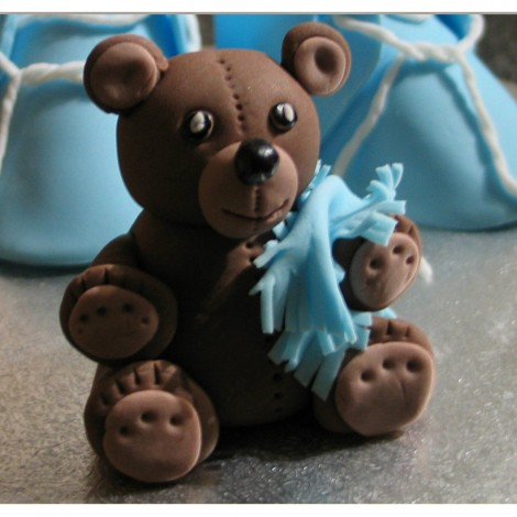 Sugar Decorations - Cake topper Teddy Bear with blue plaid 3D