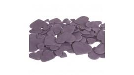 Violetinės spalvos skirtingo dydžio širdys