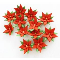Kalėdinės Cukrinės dekoracijos - Puansetijos 12vnt