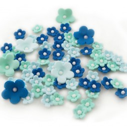 Sugar cake toppers blue shades flowers with pearls