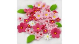 Cukrinė dekoracija tortams ar keksiukams Gėlytės Bordo atspalvių su lapeliais
