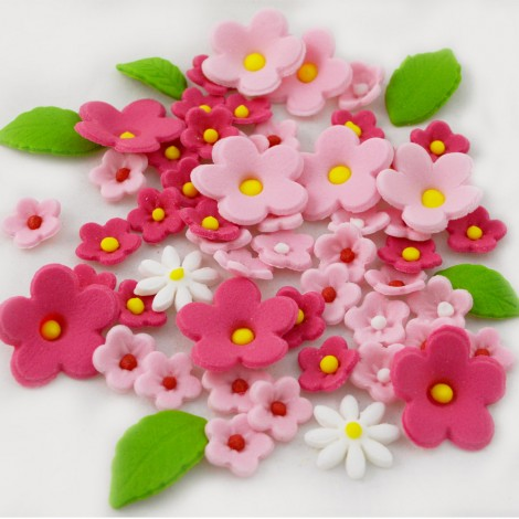 Sugar Decorations - Sugar cake toppers Claret shades flowers with leaves