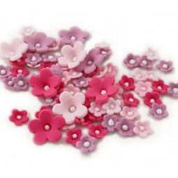 Sugar cake toppers Pink Lilac shades flowers with pearls