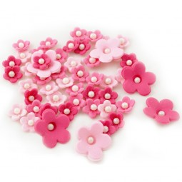 Sugar cake toppers Pink shades flowers with pearls