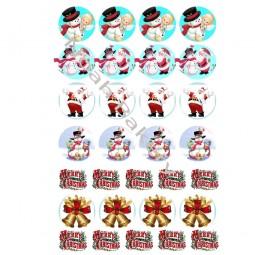 Cukrinio valgomo popieriaus Dekoracijos keksiukams Senis besmegenis, Kalėdų senelis