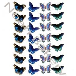 Cukrinio Valgomo popieriaus dekoracija Mėlynų atspalvių Drugeliai