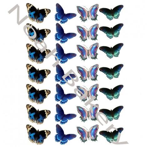 Valgomo popieriaus dekoracija Mėlynų atspalvių Drugeliai