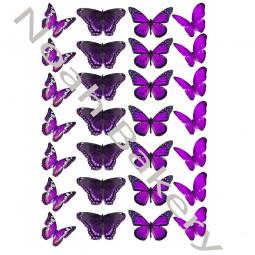 Cukrinio Valgomo popieriaus dekoracija Violetinių atspalvių Drugeliai