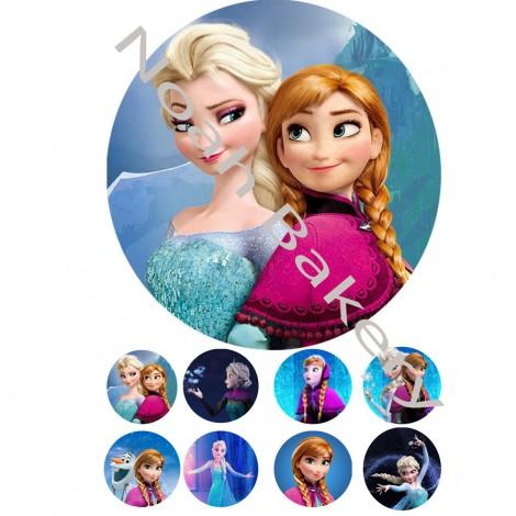 Princesės iš animacinio filmo Frozen Cukrinio valgomo popieriaus Dekoracijos tortui ir keksiukams