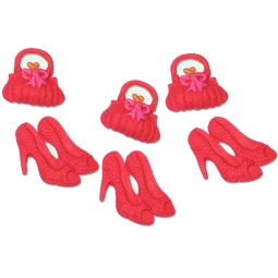 Red colour handbags and shoes