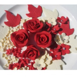 Red, ivory flowers set with roses