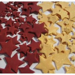 Bordo ir blizgančios aukso spalvos skirtingo dydžio žvaigždės