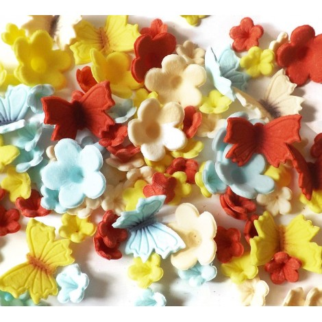Sugar balls/Dragees - Colored blossoms with butterflies