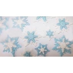 Baltos, mėlynos spalvos blizgančios dvigubos snaigės