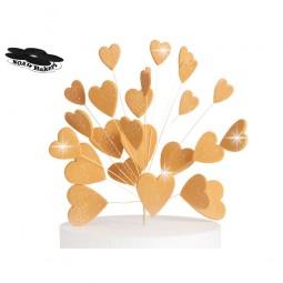 Blizgančios auksinės širdys su vielutėmis