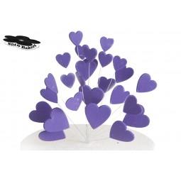 Blizgančios tamsiai violetinės širdys su vielutėmis