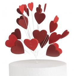 Blizgančios raudonos, bordo spalvos širdys su vielutėmis