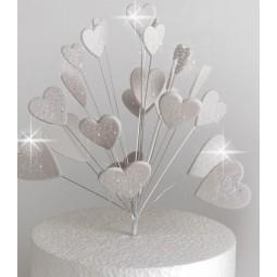 Blizgančios sidabrinės širdys su vielutėmis
