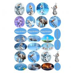 Cukrinio valgomo popieriaus Dekoracijos keksiukams Olafas iš animacinio filmo Frozen