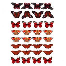 Cukrinio valgomo popieriaus Dekoracijos keksiukams Raudonų atspalvių drugeliai